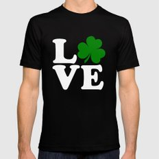 Love with Irish shamrock MEDIUM Black Mens Fitted Tee