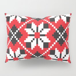 Slavik red, black and white floral cross stitch design pattern. Pillow Sham