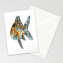 Blue and Orange Shubunkin Goldfish Isolated Stationery Cards