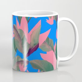 Retro Luxe Lilies Electric Blue Pattern Coffee Mug
