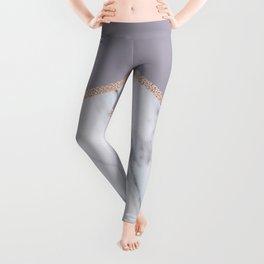 Smokey lilac - rose gold geometric marble Leggings