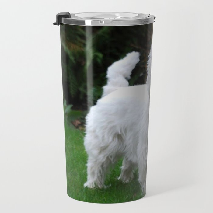 Westie in the garden Travel Mug