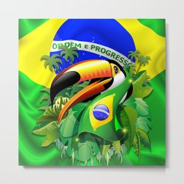 Toco Toucan with Brazil Flag Metal Print
