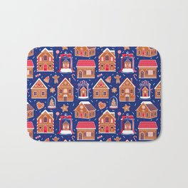 Gingerbread Houses and Sweets Candies - Blue Bath Mat