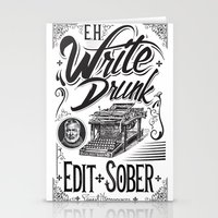 hemingway Stationery Cards featuring Write Drunk. Edit Sober by Ryan Huddle House of H