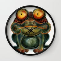 frog Wall Clocks featuring Frog by Riccardo Pertici