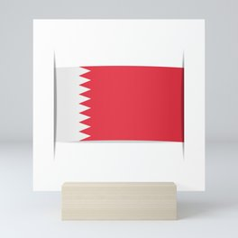 Flag of Bahrain. The slit in the paper with shadows. Mini Art Print