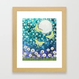the moon, stars, luna moths, & dandelions Framed Art Print