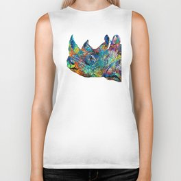 Rhino Rhinoceros Art - Looking Up - By Sharon Cummings Biker Tank