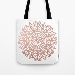 Rose Gold Floral Mandala Tote Bag