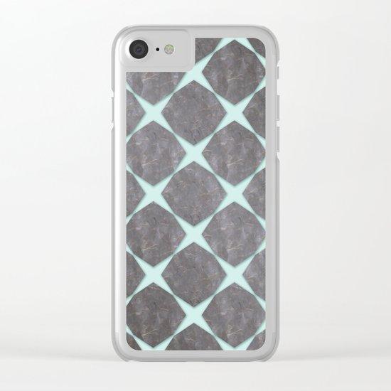 Mint Under Black Marbel Tiles Clear iPhone Case