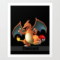 charizard Art Prints featuring Charizard by Yamilett Pimentel