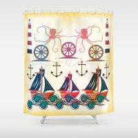 sailor Shower Curtains featuring Sailor by famenxt