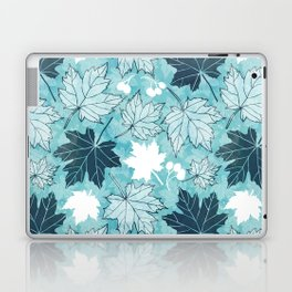 Autumn leaves in shades of blue Laptop & iPad Skin