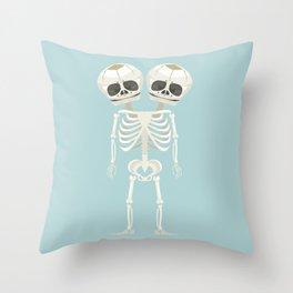 Siamese Twins Skeleton Throw Pillow