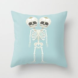 Siamese Twins Skeleton Throw Pillow