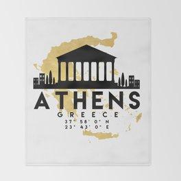 ATHENS GREECE SILHOUETTE SKYLINE MAP ART Throw Blanket