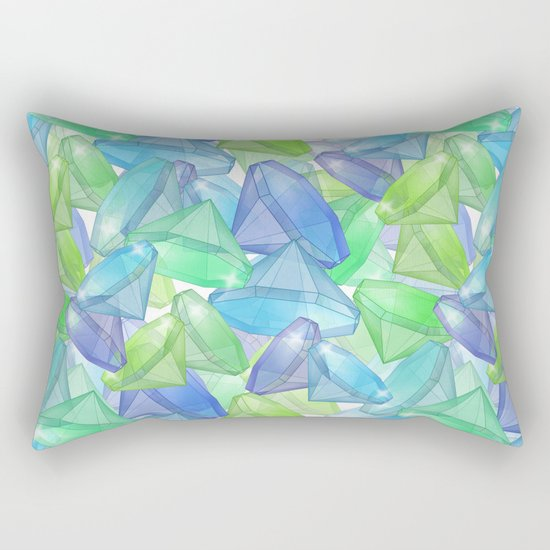 Placer precious stones, yellow , green , blue . Rectangular Pillow