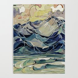 Sunrise, Surf, and Ridgelines Poster