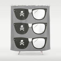 goonies Shower Curtains featuring The Smartest Pirate by Ryder Doty