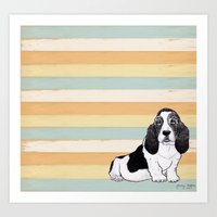 the hound Art Prints featuring Basset Hound by Tammy Kushnir