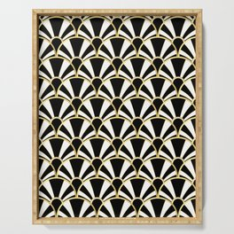 Black, White and Gold Classic Art Deco Fan Pattern Serving Tray