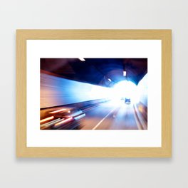 Exit of a tunnel. Blurred motion Framed Art Print