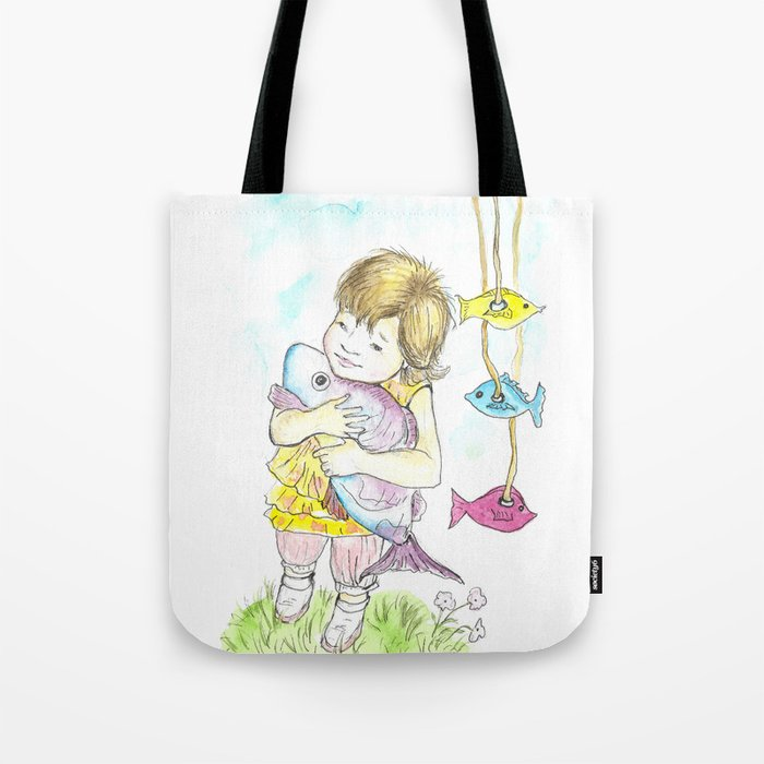 Girl with toy-fish Tote Bag