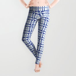 Squares and triangles pattern blue Leggings