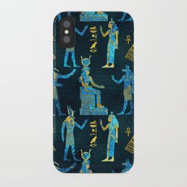 Egyptian  Gold and blue glass pattern iPhone Case