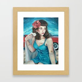 Blue Pin Up Girl, Portrait Oil Painting with Flower Tattoos and Hot Rod Convertible Beach in Summer Framed Art Print