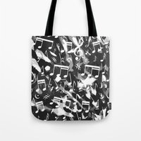 music notes Tote Bags featuring MUSIC NOTES  by raspaintings