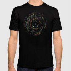 Rainbow Record Black Mens Fitted Tee 2X-LARGE