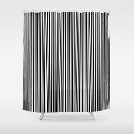 Simply small black and white handrawn stripes - vertical - Mix & Match with Simplicty of life Shower Curtain