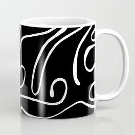 Black and White Linear Curved Lines Patterns Coffee Mug