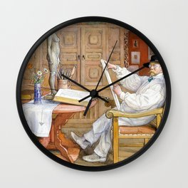 Self-portrait, In The New Studio - Carl Larsson Wall Clock