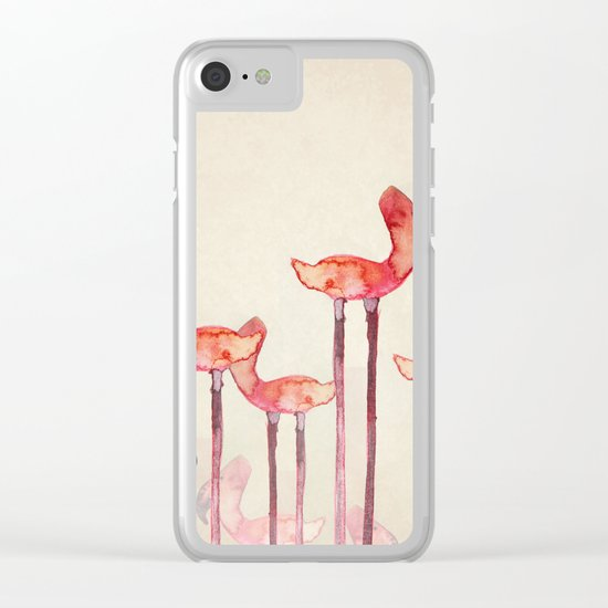Transmogrified Flamingo Colony Clear iPhone Case