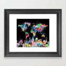 world map city skyline 3 Framed Art Print