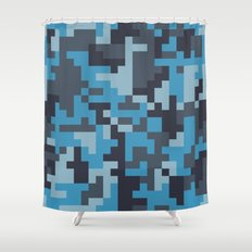 Blue and Grey Pixel Camo pattern Shower Curtain