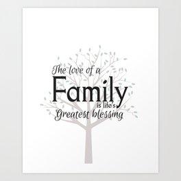 Family tree wall art quote Art Print