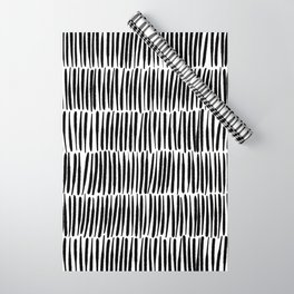 Inspired by Nature | Black & White Organic Line Texture Elegant Minimal Simple Wrapping Paper
