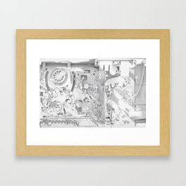 White Gears Framed Art Print