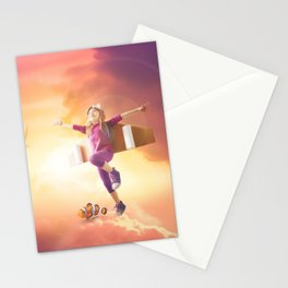 Mattepainting flying kid mattepainting Stationery Cards