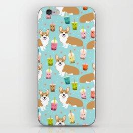 corgi boba tea bubble tea cute kawaii dog breed fabric welsh corgis dog gifts iPhone Skin