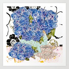 Hydrangea Collage Art Print