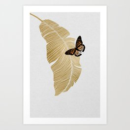 Butterfly & Palm Leaf, Gold Wall Art Art Print