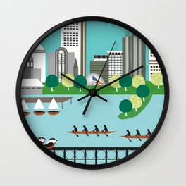 Boston, Massachusetts - Skyline Illustration by Loose Petals Wall Clock