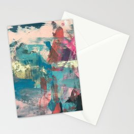Sugar Rush [2]: a colorful, abstract mixed media piece in pinks, blues, and gold Stationery Cards
