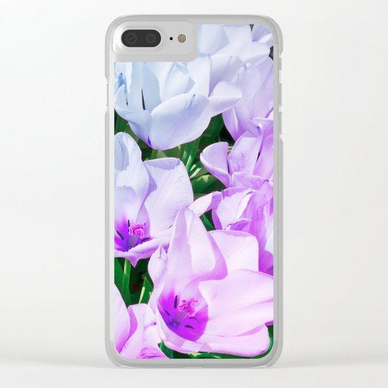 Blue Indigo Tulips Clear iPhone Case