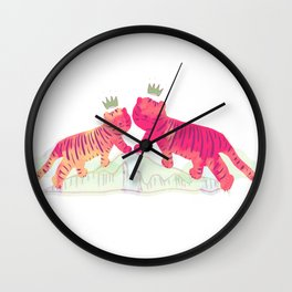 Lucky Pinkie Tigers Wall Clock